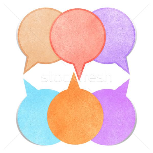 Kağıt dokusu kabarcık konuşmak etiket beyaz ofis Stok fotoğraf © jakgree_inkliang