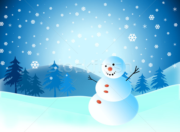 Cartoon Snowman On Snow Blue Background Stock Photo