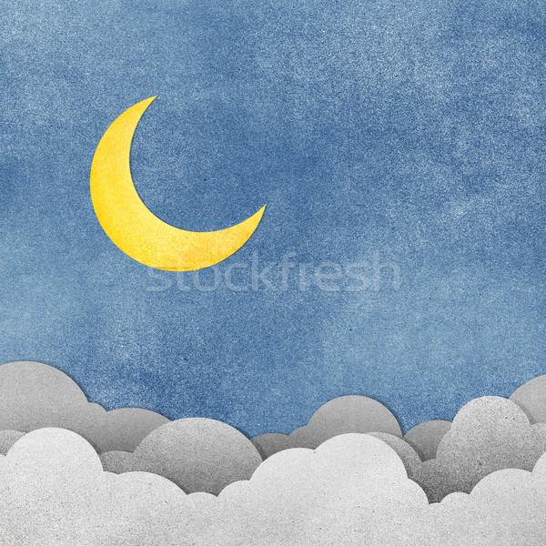 Grunge Papierstruktur Mond Nacht Wasser Papier Stock foto © jakgree_inkliang