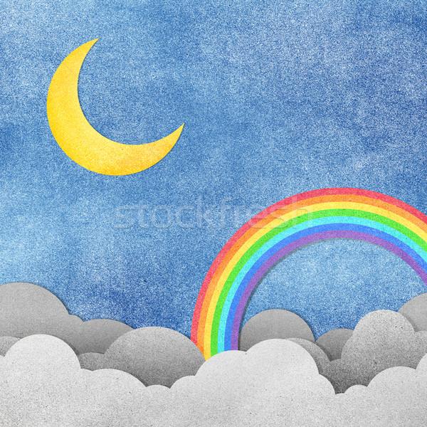 Grunge Papierstructuur maan regenboog hemel water Stockfoto © jakgree_inkliang