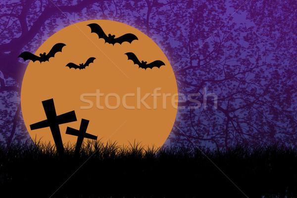 Halloween Nacht Silhouette Zweig Baum Mond Stock foto © jakgree_inkliang