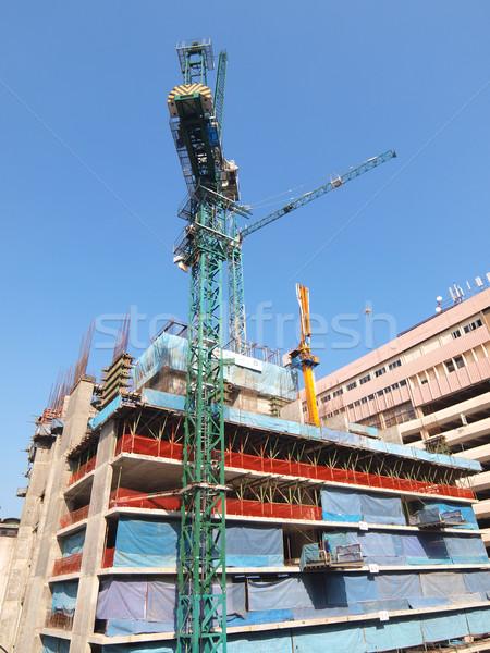 állványzat építkezés égbolt ipari építészet acél Stock fotó © jakgree_inkliang