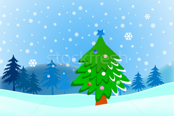 Cartoon Christmas tree on snow blue background Stock photo © jakgree_inkliang
