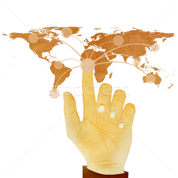 Paper texture ,Hand pressing digital button on world map on whit Stock photo © jakgree_inkliang