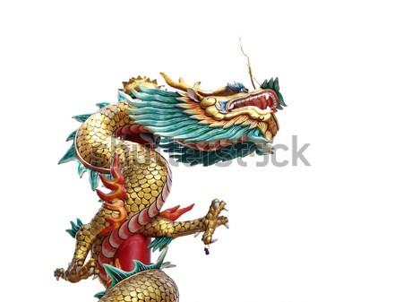 Chinesisch Stil Drachen Statue weiß Stock foto © jakgree_inkliang
