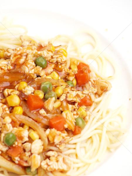 Spaghetti Sauce Essen Restaurant Abendessen Stock foto © jakgree_inkliang
