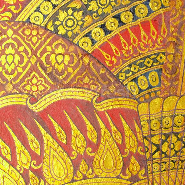Fal művészet festmény textúra templom Thaiföld Stock fotó © jakgree_inkliang