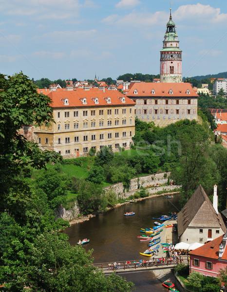 Histórico centro República Checa castillo rafting río Foto stock © jamdesign