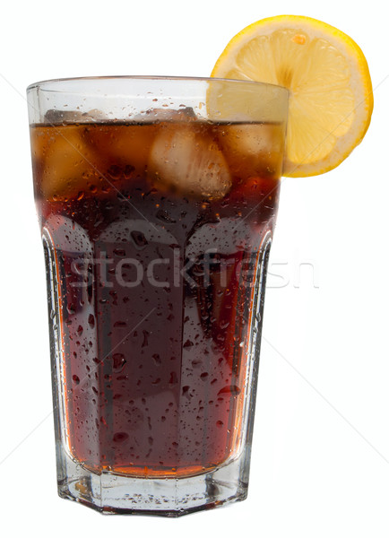Cola boire verre glace citron isolé Photo stock © jamdesign