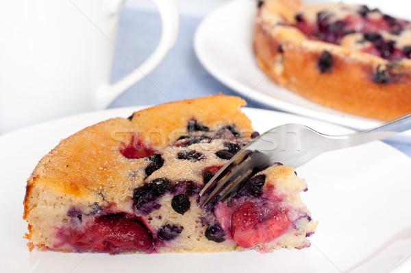 Eigengemaakt fruitcake dessert vruchten taart aardbeien Stockfoto © jamdesign