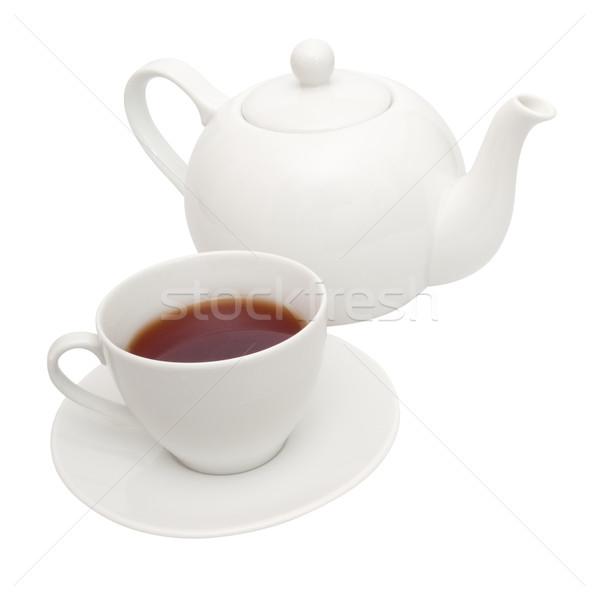 Theepot beker witte thee geïsoleerd Stockfoto © jamdesign