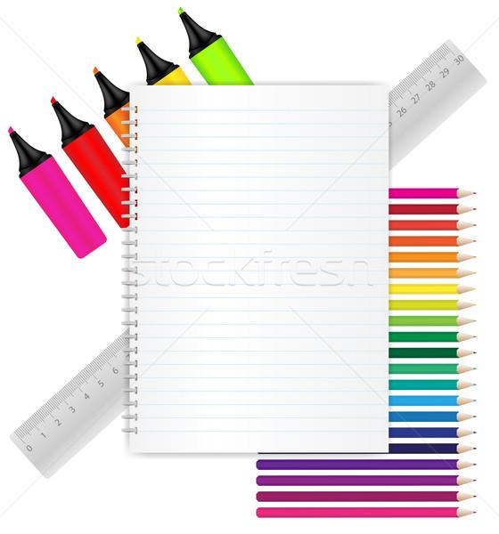 文房具 練習帳 クレヨン 定規 学校 ストックフォト © jamdesign