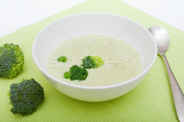 Stock fotó: Krém · brokkoli · leves · fehér · tál · vacsora