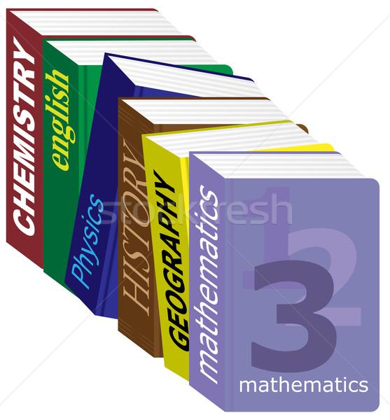 Livros didáticos inglês isolado branco papel Foto stock © jamdesign
