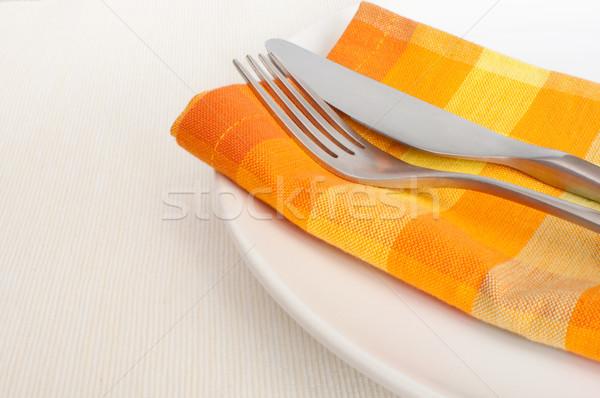 Plate, Cutlery and Napkin Stock photo © jamdesign