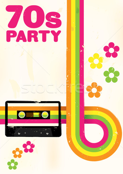 ретро плакат 70-х годов вечеринка Flyer аудио Сток-фото © jamdesign