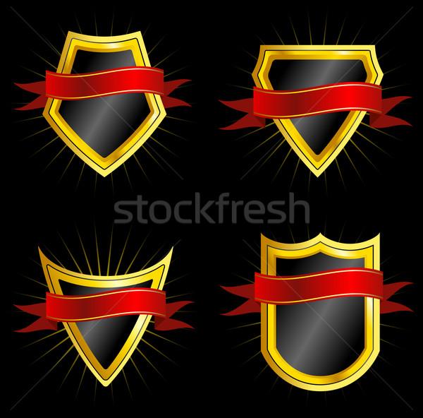 Foto stock: Establecer · dorado · oscuro · rojo · diseno