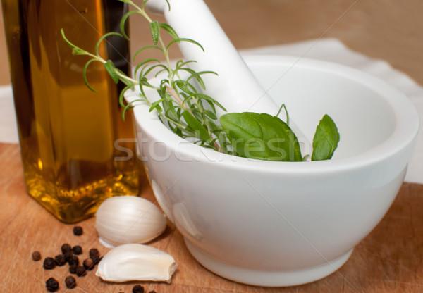 Hazırlık biberiye fesleğen sarımsak biber zeytinyağı Stok fotoğraf © jamdesign