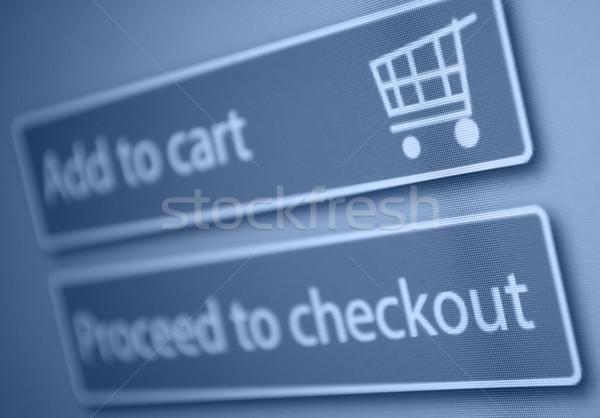Warenkorb Taste Business Monitor blau Stock foto © jamdesign