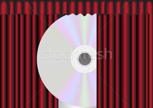 Cd lemez mögött piros függöny illusztráció Stock fotó © jamdesign