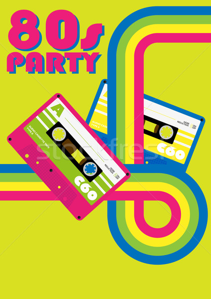 Retro poster 80s partij flyer audio Stockfoto © jamdesign