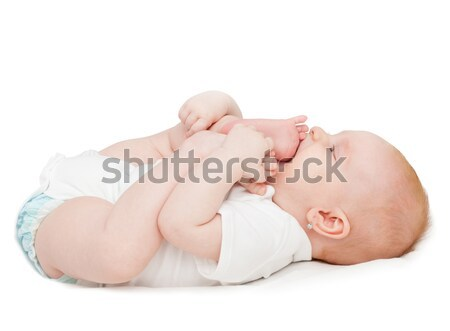 Kislány aranyos lábujjak fehér gyermek haj Stock fotó © jamdesign