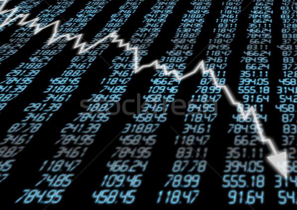 Mercado de ações para baixo seta gráfico azul exibir Foto stock © jamdesign