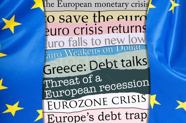 Crise financeira europa manchetes bandeira europeu união Foto stock © jamdesign