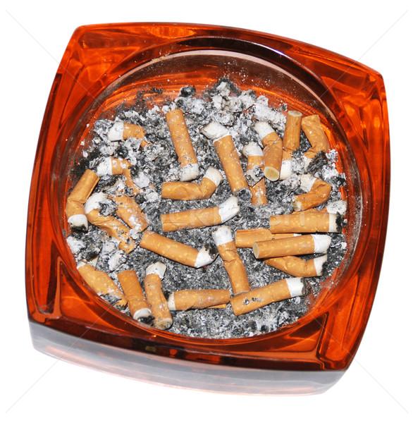 ストックフォト: 灰皿 · フル · たばこ · 孤立した · 白 · 煙