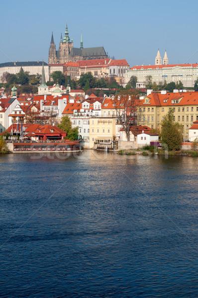 Prag Burg Fluss Tschechische Republik Reise Architektur Stock foto © jamdesign