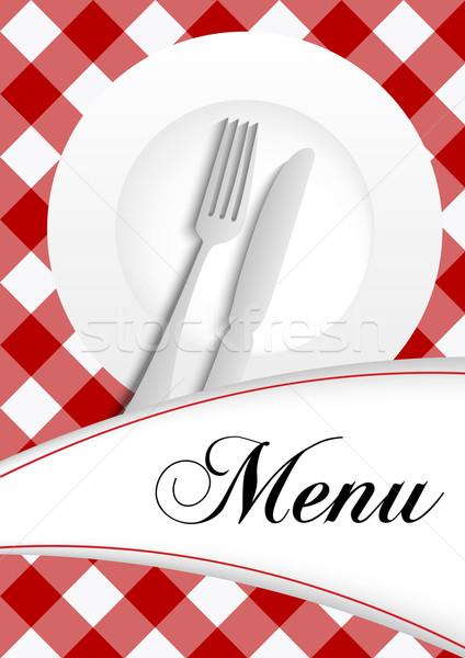Menu rosso texture piatto posate Foto d'archivio © jamdesign