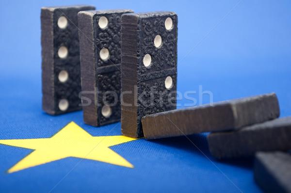 Zdjęcia stock: Domina · efekt · kryzys · finansowy · Europie · europejski · Unii