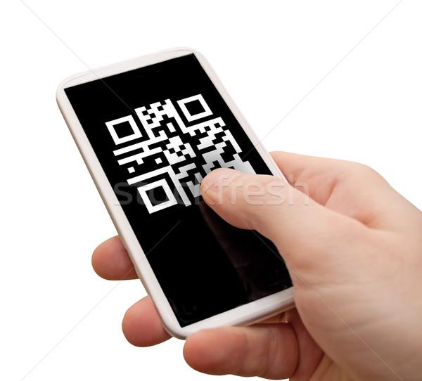 Código qr lectura mano pantalla aislado Foto stock © jamdesign