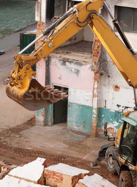 Detalle amarillo edificio demolición pared industrial Foto stock © jamdesign