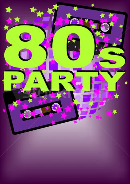Retro Party Audio Kassette Band Musik Stock foto © jamdesign