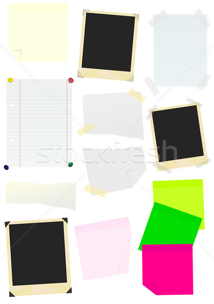 Set of Memo Sticks, Papers and Photo Frames Stock photo © jamdesign