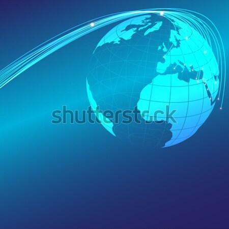 オプティカル 抽象的な 世界中 青 コンピュータ 光 ストックフォト © jamdesign
