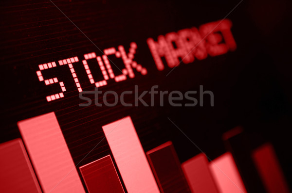 Stock Market - Column Going Down on Blue Display Stock photo © jamdesign