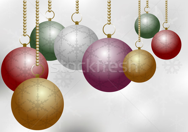 Christmas Balls on Silver Backround Stock photo © jamdesign