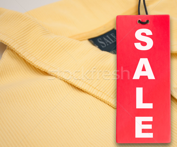 Vente tag polo suspendu rouge jaune Photo stock © jamdesign