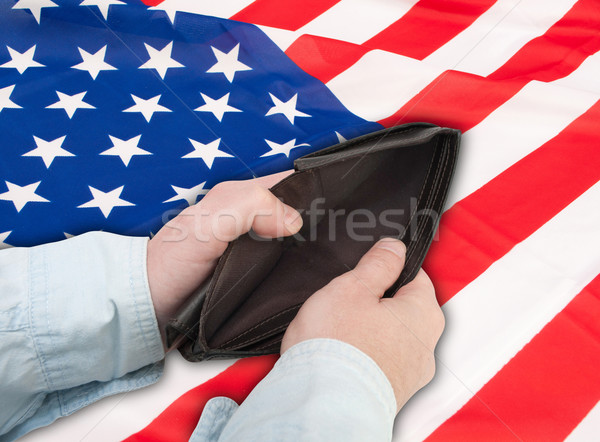 Finansal kriz ABD Amerika Birleşik Devletleri el boş cüzdan Stok fotoğraf © jamdesign