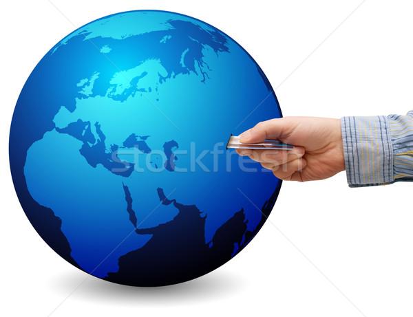 Stock fotó: Online · vásárlás · ekereskedelem · kéz · hitelkártya · földgömb · térkép