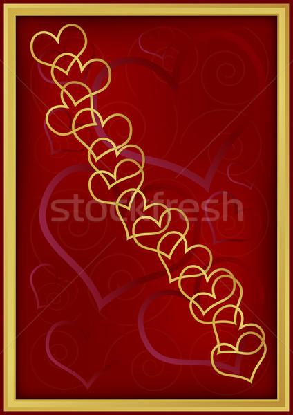 Golden Herz dunkel rot Hintergrund Stock foto © jamdesign