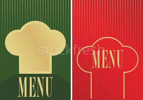 Menü kártyák felirat szakács sapka sziluett kettő Stock fotó © jamdesign