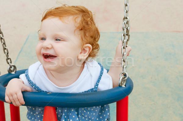 Stock foto: Baby · Swing · glücklich · Sitzung · Park