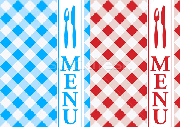 Menu Card - Red and Blue Gingham Stock photo © jamdesign