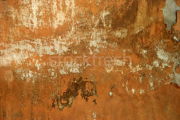 破壊された 壁 古代 ひびの入った オレンジ フロント ストックフォト © jamdesign