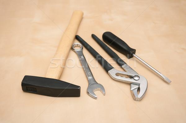 Set Werkzeuge Schraubendreher Schraubenschlüssel Holz Kopie Raum Stock foto © jamdesign