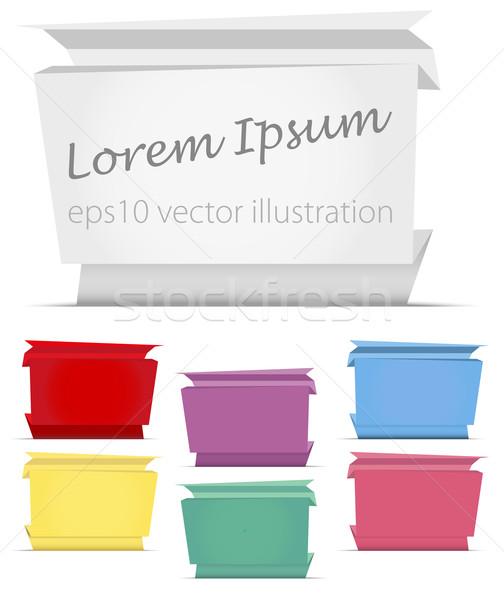 Abstrakten Origami Papier Banner Sammlung Banner Stock foto © jamdesign