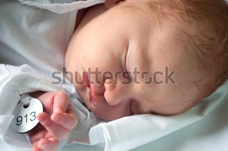 Stock foto: Neu · geboren · Baby · schlafen · Porträt · Bett